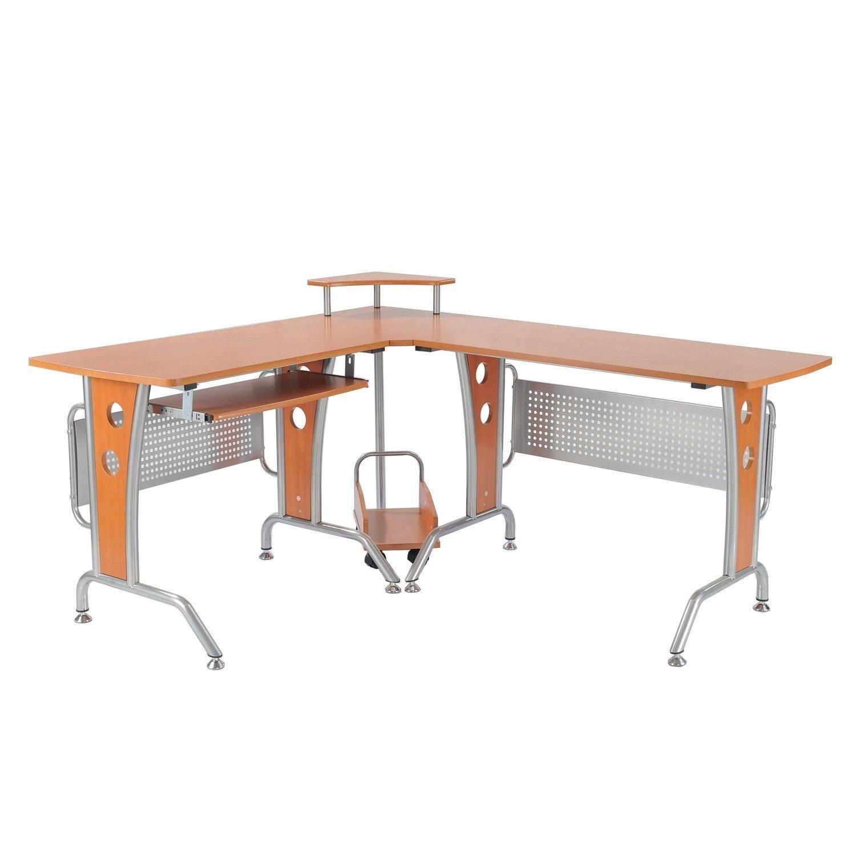 HOMCOM Desk Corner Table PC Computer Office Wooden Brown