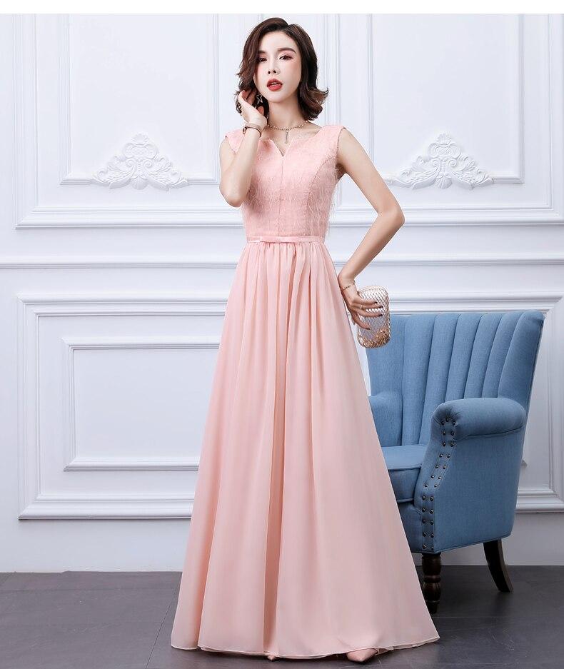 Pink   Bridesmaid     Dresses   Long Chiffon Vestido Largo Sirena Elegant   Dress   Women for Wedding Party Red Black Sexy Sister Prom   Dress
