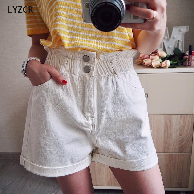 LYZCR Vintage Loose Denim Shorts Women Summer 2020 High Waist White Shorts Jeans Casual Wide Leg Ladies Short Jean Feminina