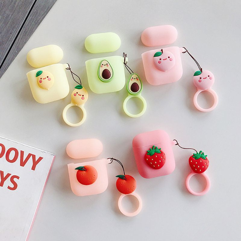For AirPods Case Summer Fruit Cartoon Protective Cover Wireless Earphone Case For Air pods 2 Headphone case with Finger Ring
