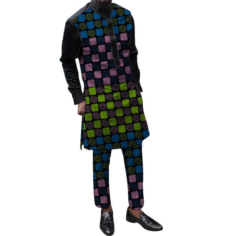 Dashiki Print Men's Pant Set Stand Collar Wax/Black Tops+Trousers Plus Size African Party Groom Suit Support DropShipping