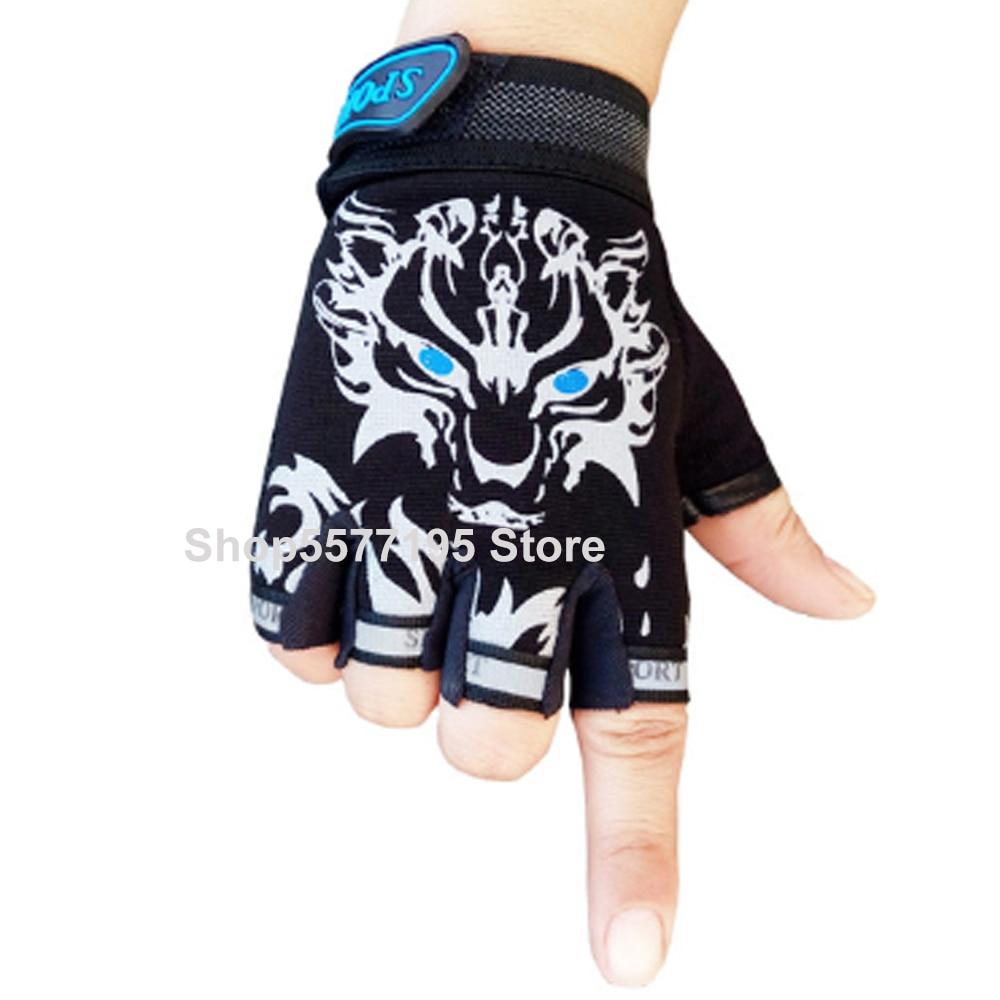 2020 Hot Sale 7-16Y Kids Adults Bike Half Finger Gloves Cycling Mesh Gloves Bicycle Sport Short Gloves 12 Colors