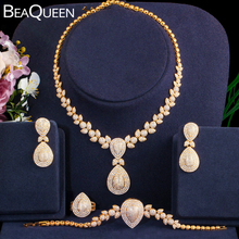BeaQueen 4pcs Nigerian Dubai Bridal Jewelry Sets Micro Paved Cubic Zircon Big Drop Earring Necklace Bracelet and Ring Set JS249 beaqueen luxurious african cubic zirconia beads jewelry set nigerian wedding yellow bridal jewellery sets for women js091