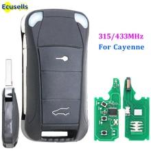 2ปุ่มรีโมทคีย์Fob 315MHz/433MhzสำหรับPorsche Cayenne 2004 2011 ID46 Chip Uncutใบมีด