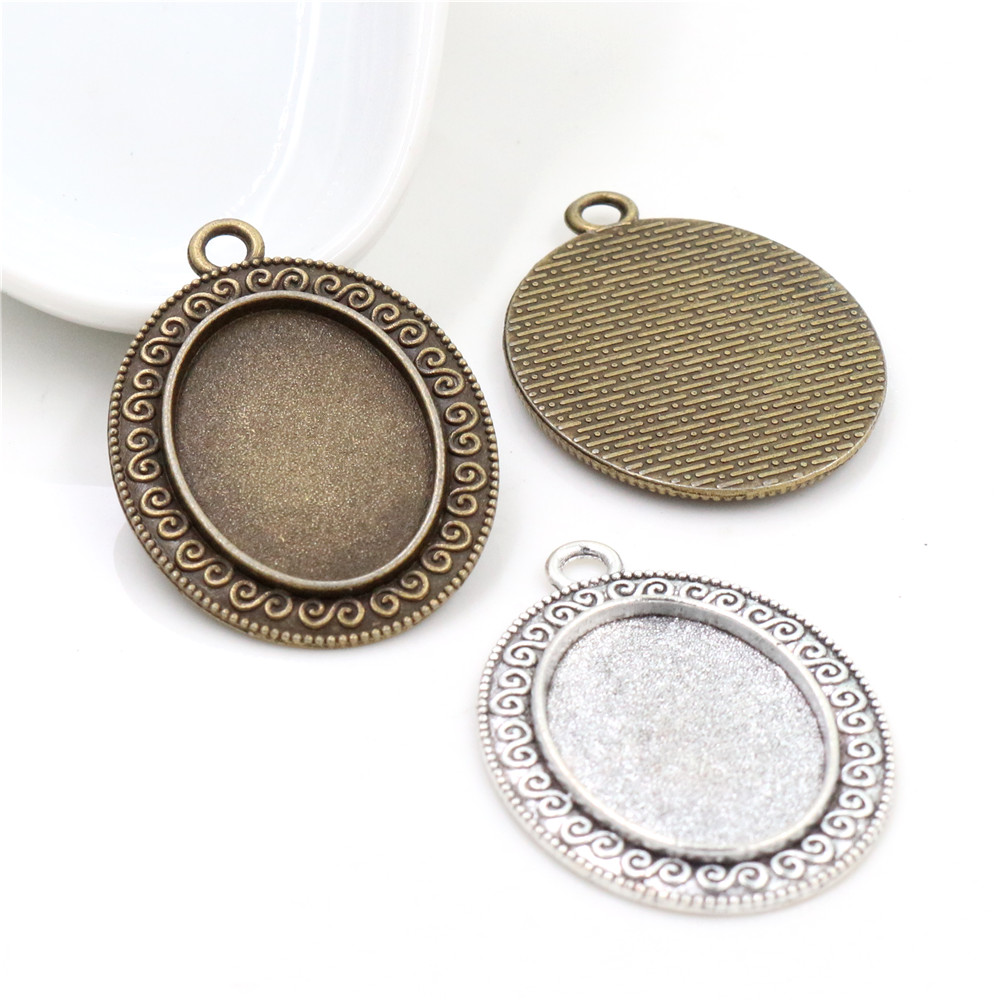 10pcs 18x25mm Inner Size Antique Silver Plated And Bronze Flowers Style Cameo Cabochon Base Setting Pendant Necklace Findings
