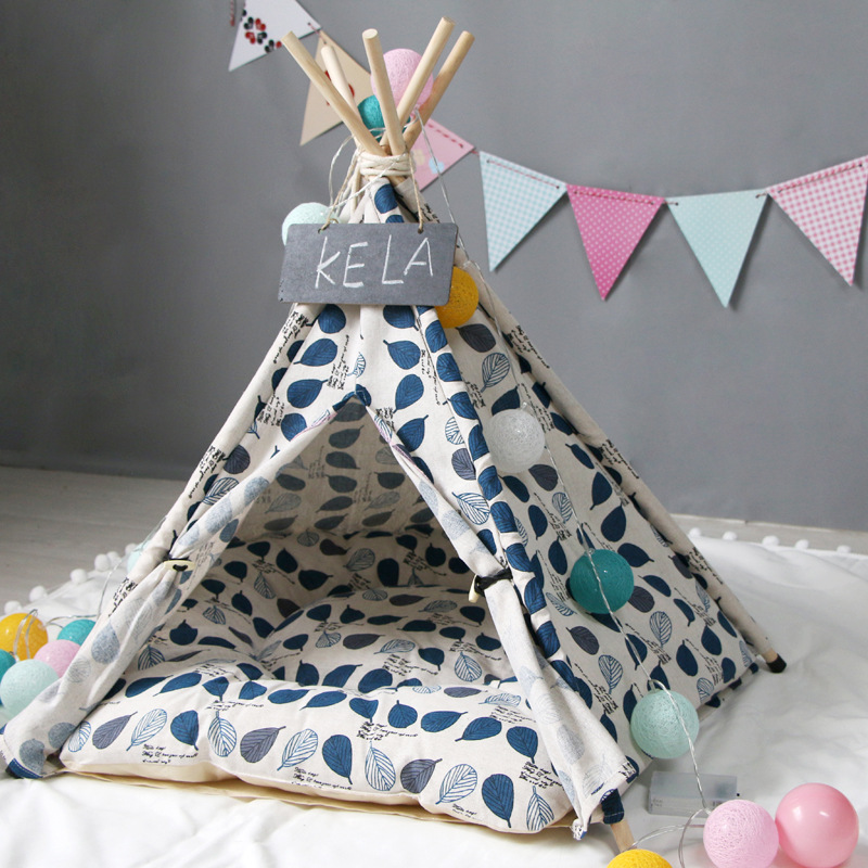 Dog House Cats Bed Portable Pet Beds Tent Dog Crate Foldable Cat Bed Dog Kennel Puppy House Teepee Gatos Cushion манеж для собак