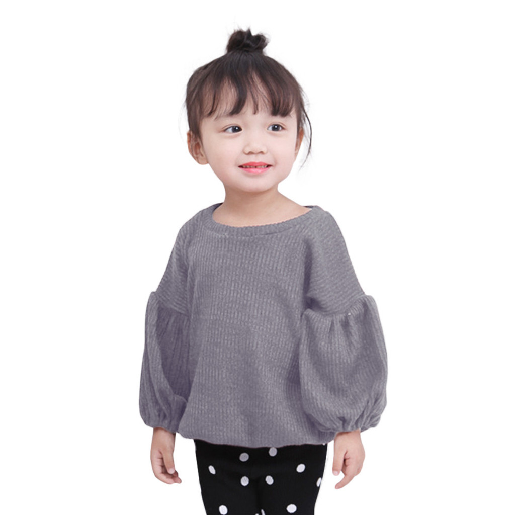 Hoodie Sweatshirt Baby Clothes  Toddler Infant Baby Kids Girls Solid Lantern Sleeve Shirt Tops Outfits Clothes толстовка Tops 3