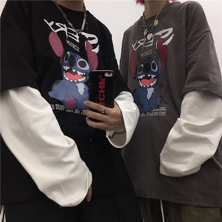 Stitch Men Woman Hoodie Pullovers Long Sleeves Harajuku  Pullovers  Casual Tops O-neck Men Hip-hop Streetwear Sweatshirt Hooded