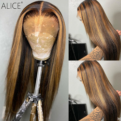ALICE Highlight Straight 150% Density 13×6 Lace Front Human Hair Wigs Scalp Top Closure Wigs Non-Remy