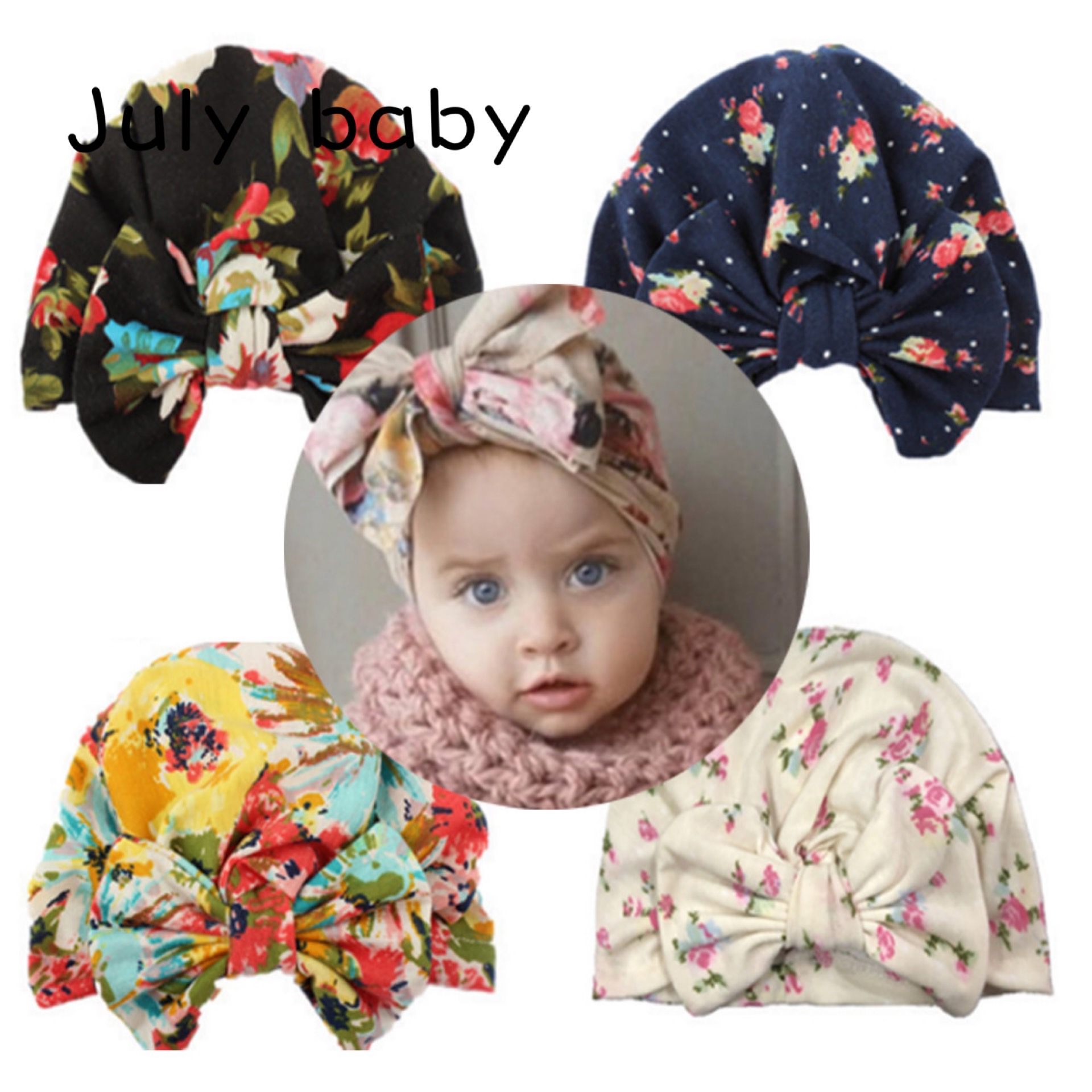 July Baby2020 New Products Hot Sale Special Cotton Trend Comfortable Children Hat Baby Bow Hat Printing Baby Baotou Hat Baby Hat