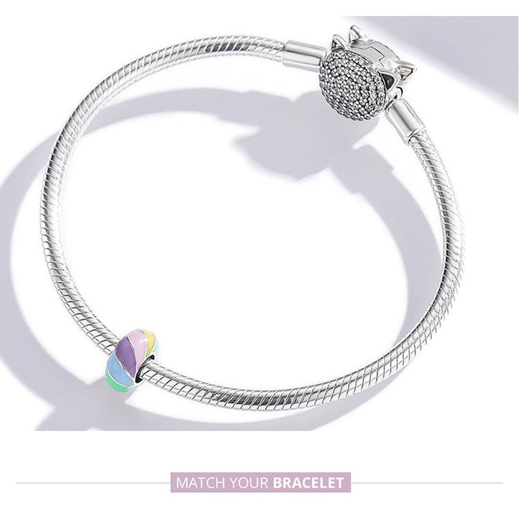 charm bracelet Genuine 925 Sterling Silver Colorful Enamel Charm Rainbow Spacer Beads Fit Women Bracelet & Bangle DIY Jewelry Making