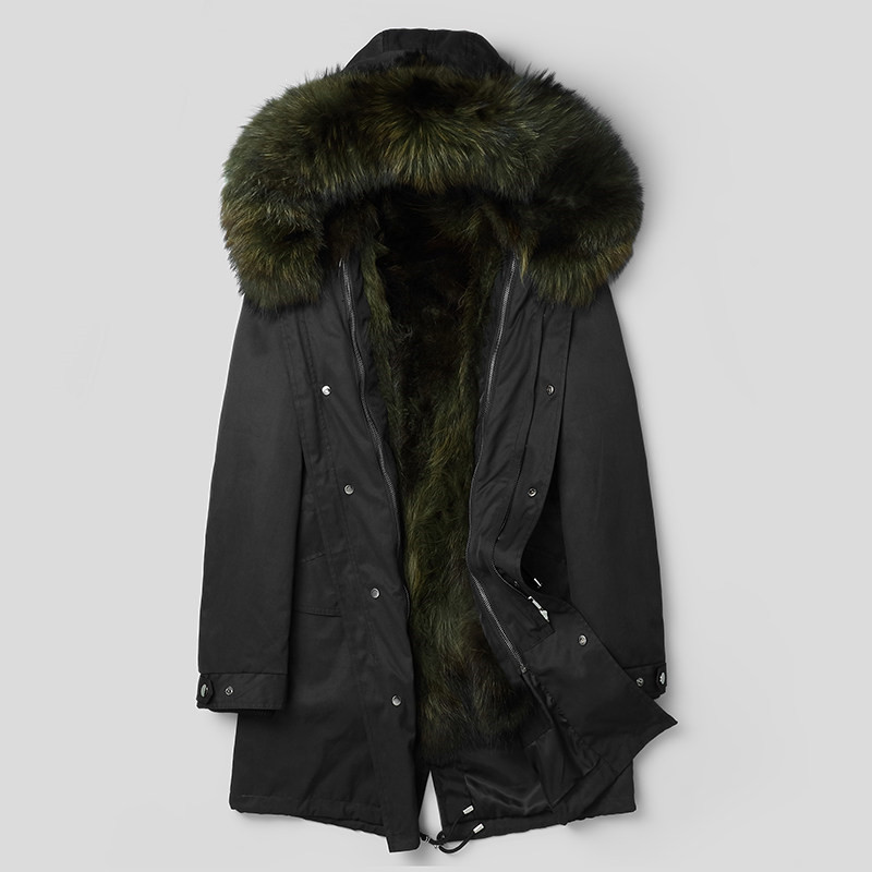 Natural Raccoon Fur Parka Men Winter Coat Men Real Raccoon Fur Collar Jacket Long Overcoat Winterjas Heren P18033 MY775