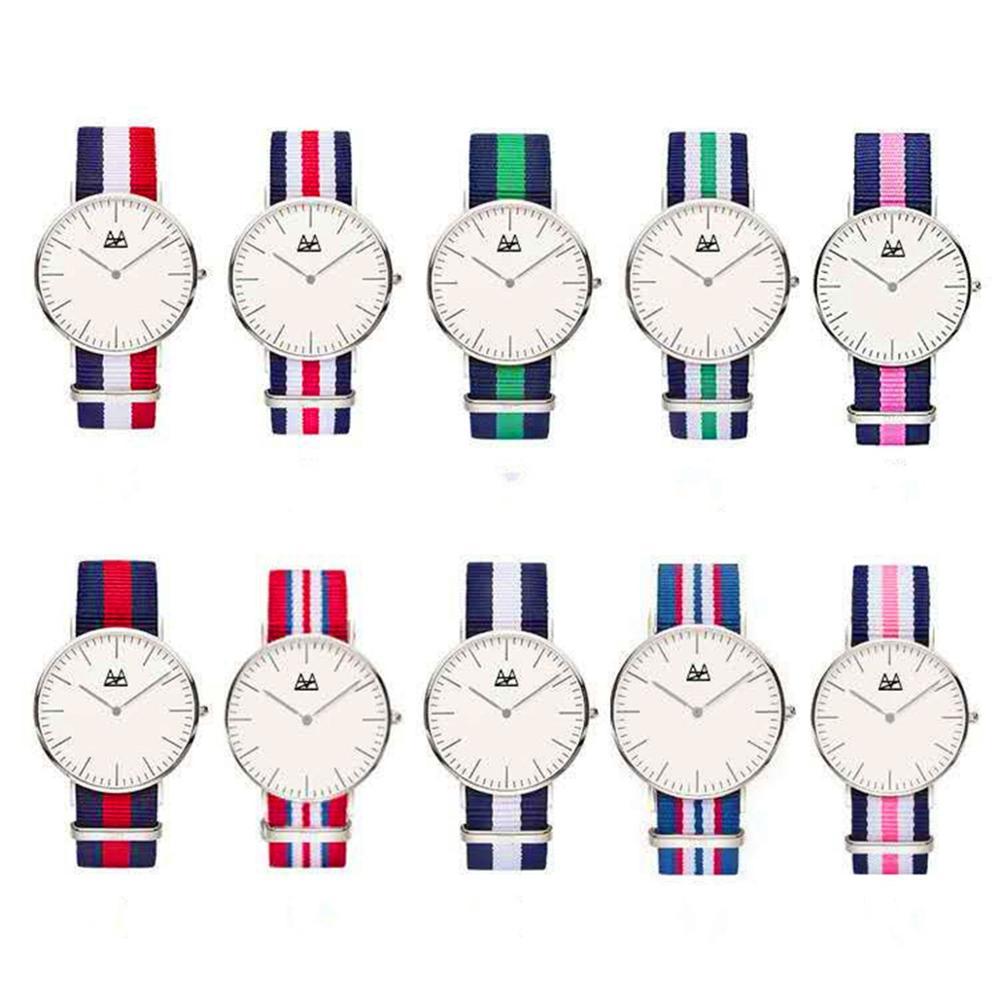 18 видов стилей, ультра тонкие кварцевые часы, простой Нейлоновый ремешок, Relogio Masculino, модные женские и мужские наручные часы, Женева, женские