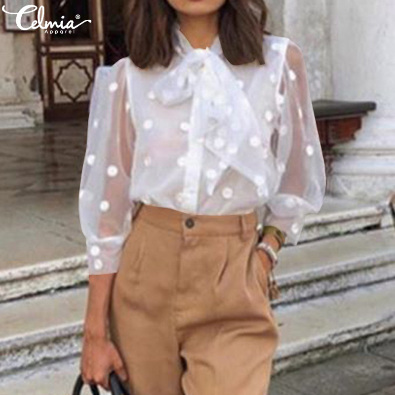 2019 Celmia Women Embroidery Mesh See-through Top Shirt Fashion White Blouse 3/4 Sleeve Bow Tie Polka Dot Blusas Mujer Plus Size