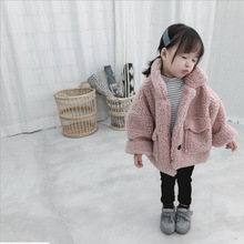 Бархатное пальто из овечьей шерсти для маленьких девочек новое зимнее корейское Детское пальто куртки для девочек