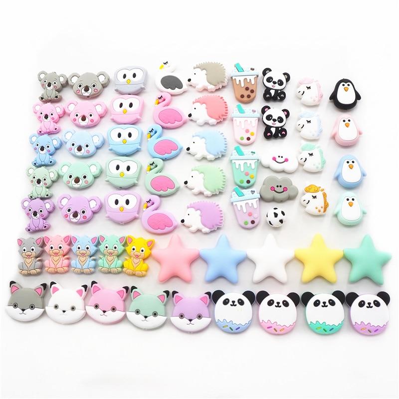 Chengkai 10pcs Silicone Koala Teether Beads DIY Animal Baby Shower Teething Montessori Sensory Cartoon Jewelry Beads BPA Free(China)