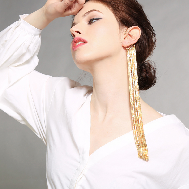 Exaggerated Vintage Long Banquet Gown Drop Earrings For Women Trendy Temperament Gold Tassel Earrings Senior Luxury Jewelry