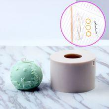 3D Рождество олень мяч Силиконовые свечи мыло Плесень DIY помадка испечь плесень