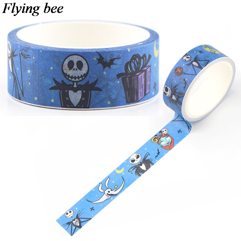 Flyingbee 15mmX5m The Nightmare Before Christmas Paper Washi Tape Decorative Horror Adhesive Tape Halloween Tape Sticker X0587