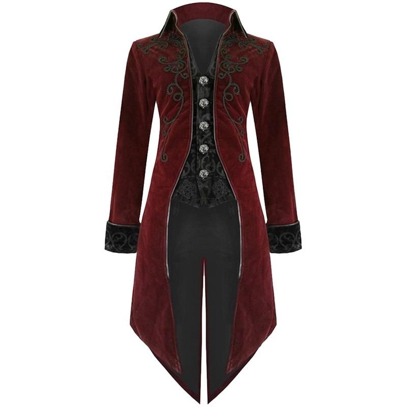 LOOZYKIT Men Vintage Gothic Long Jacket Autumn Retro Cool Uniform Costume Trench Coat Steampunk Tailcoat Button Coat Male