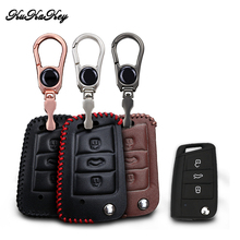 Leather Car Key Case Cover For Volkswagen VW Golf 7 GTI R MK7 Tiguan 2017 For Skoda Octavia A7 For Seat Leon Ibiza Key