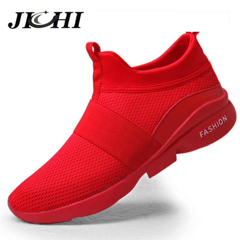 2020 Mens Casual Shoes Breathable Unisex Sneakers Men Lightweight Fashion Summer Mesh Red Slip-on Large Size 46 Walking Footwear