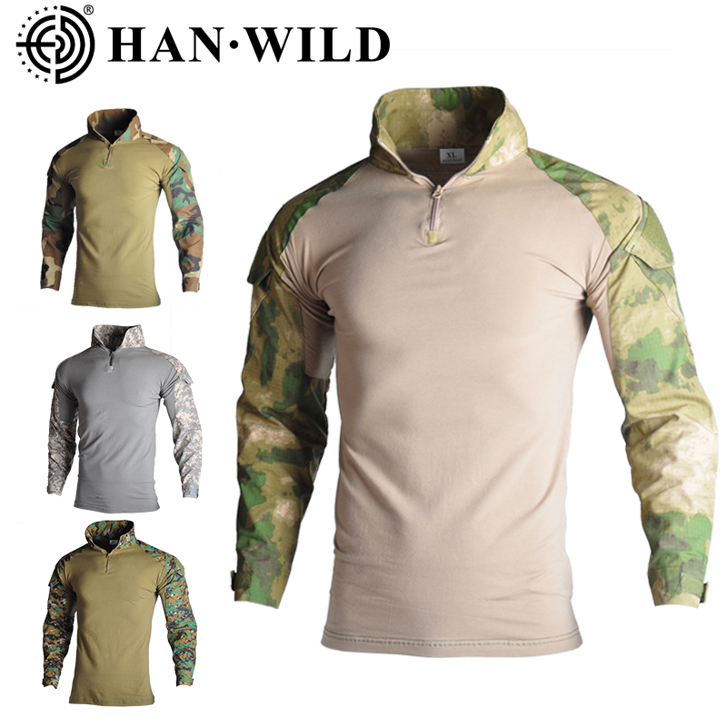 Military Army T-Shirt Men Long Sleeve Camouflage Tactical Shirt Hunt Combat Multicam Camo Long Sleeve T Shirt With Elbow Pads