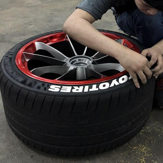 Zekstar 7 cor 3d decalques adesivos pvc pneu tuning decalque universal roda auto bicicleta etiqueta do pneu letras com acessórios para carro