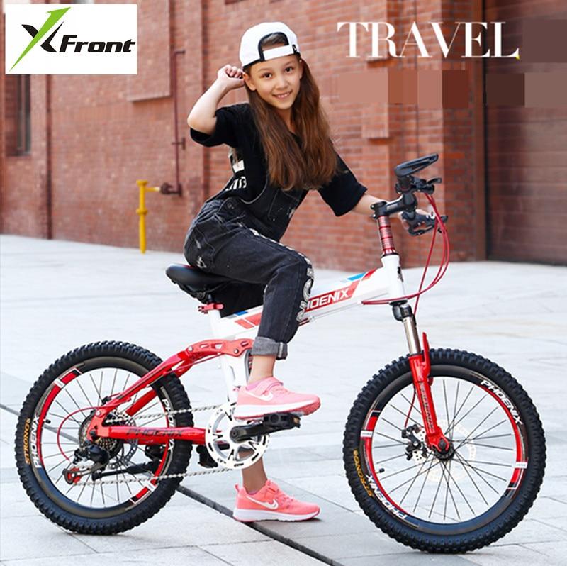New Brand Children Bike Carbon Steel Frame 20 Inch Wheel Dual Disc Brake Folding Bicycle Outdoor Sports MTB Bicileta