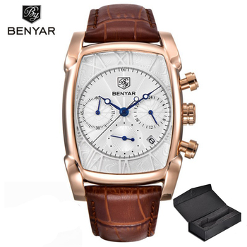 Relogio Masculino Mens Watches Top Luxury Brand BENYAR Chronograph Leather Quartz Watch Men Military Sport Luminous Wristwatch luxury leather gift box pacific angel shark sport watch 24hrs chronograph luminous steel water resistant men watches sh315 319