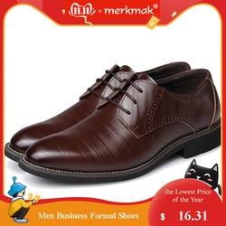 Merkmak tamanho grande 37-48 oxfords couro sapatos masculinos moda casual apontou superior formal de negócios masculino vestido de casamento apartamentos por atacado