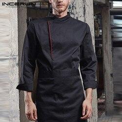 INCERUN мужская униформа шеф-повара костюм кнопка с длинным рукавом Кухня Еда обслуживание топы мужская одежда готовка Ресторан общественного...