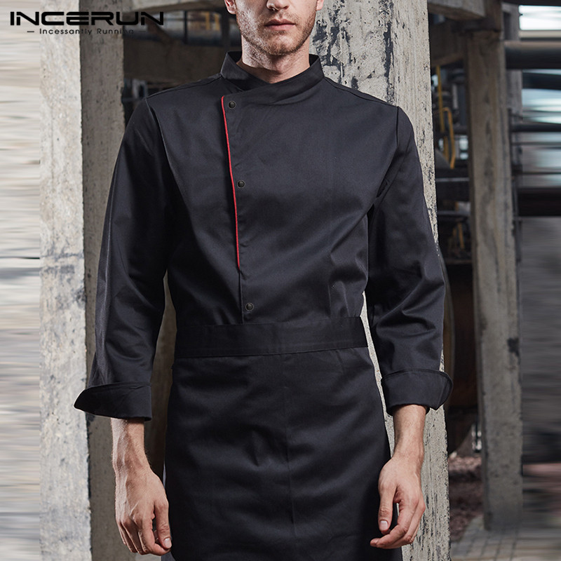 INCERUN Men Chef Uniform Costume Button Long Sleeve Kitchen Food Service Tops Men Clothing Cooking Catering Restaurant Overalls