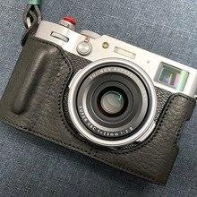 עור אמיתי בעבודת יד באיכות גבוהה חצי מקרה תיק מצלמה כיסוי עבור FUJIFILM X100V