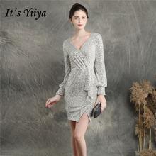 Женское платье для выпускного it's yiiya серебристое абрикосового