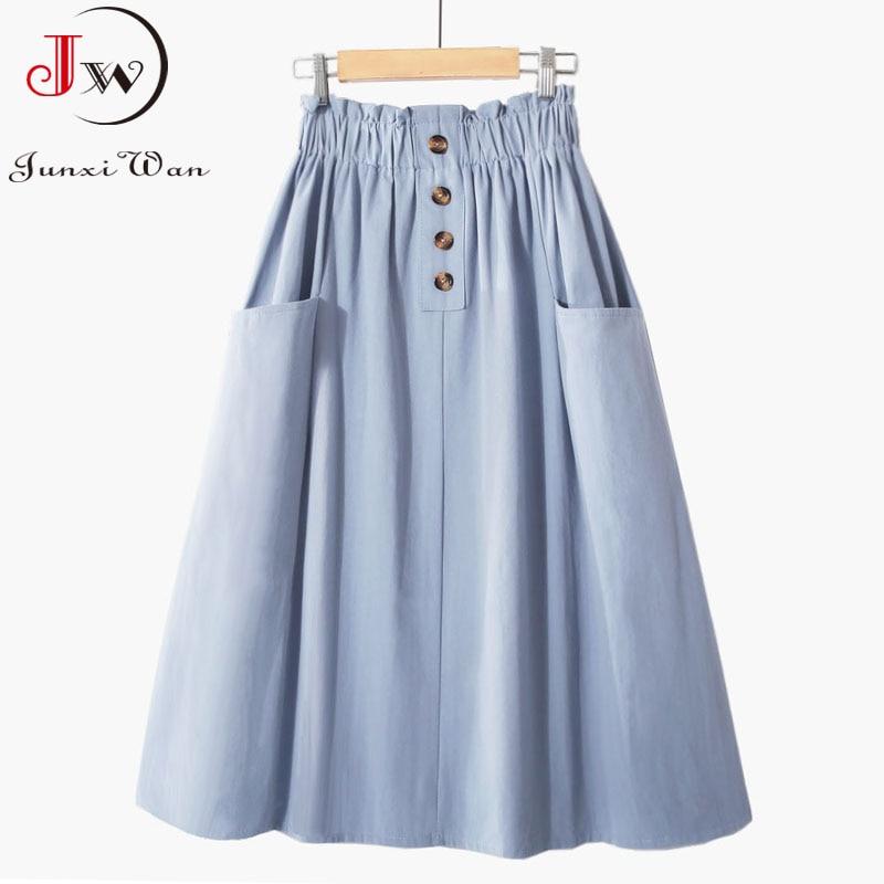 Women Summer Skirt Spring Korean Style Casual Solid High Waist  A-Line Midi Skirts With Pocket Girls Elegant Faldas