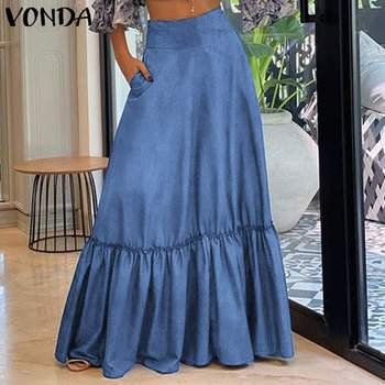 VONDA Plus Size Women Skirts Vintage High Waist Floor-Length Office Lady Casual Pleated Big Swing Ruffle