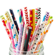 25/50PCS Environmental protection Paper Straw Party Decorations Wholesale Color Christmas Birthday Disposable Straws