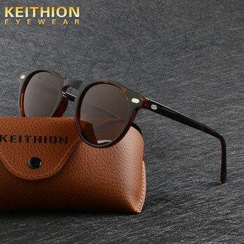 KEITHION Brand TR90 Lightweight Tortoise Brown Glasses Men Women Classic Vintage Retro Polarized Sunglasses Round