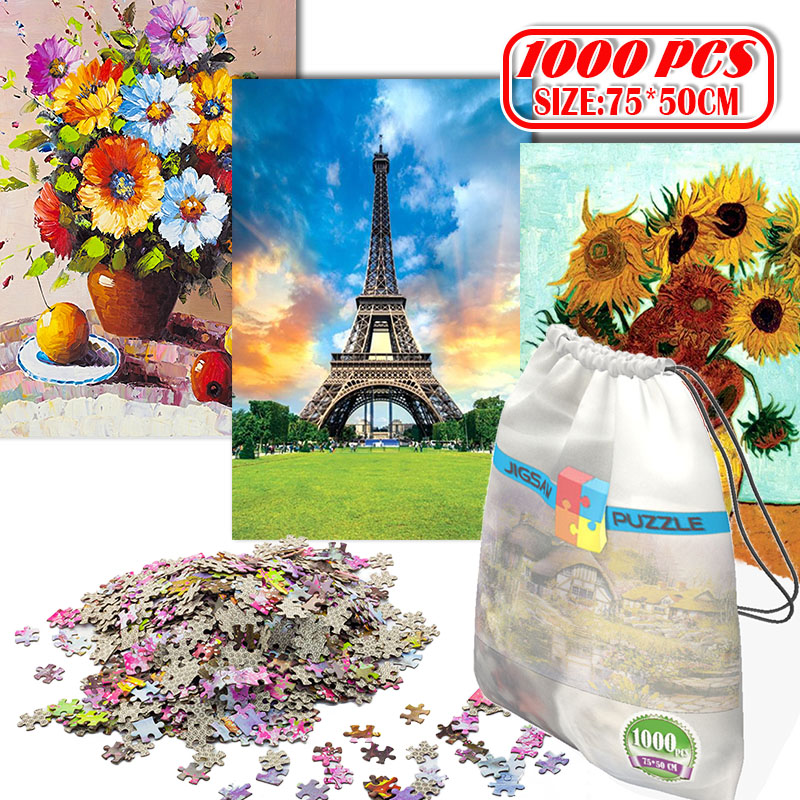 1000Pcs 3D Paper Jigsaw Puzzle For Adults Kids Toys Puzzles Wooden Educational Toys Stickers Eiffel Tower Flowers Painting