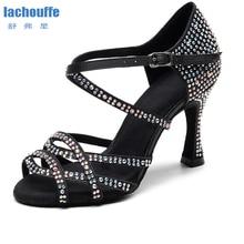 Dancing Shoes Rhineston Latino Salsa High-Heel Girls Black Women Ladies Waltz for Party