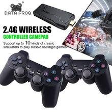 Jogo de vídeo do console da tevê do sapo 4k de dados com controlador sem fio 2.4g construído em 10000 jogos clássicos suporte ps/cps console de jogo retro