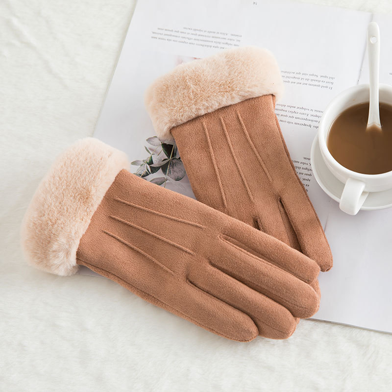 Winter  Touch Screen Gloves  Velvet Thick Suede  Women  Driving Female Thermal Ladies Leather Long  Mittens Heated Handschoenen