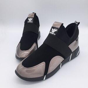 Image 5 - Zapatillas de deporte con plataforma de cuero sintético para mujer, zapatos ligeros, sin cordones, con aumento de altura, para Primavera, 2019