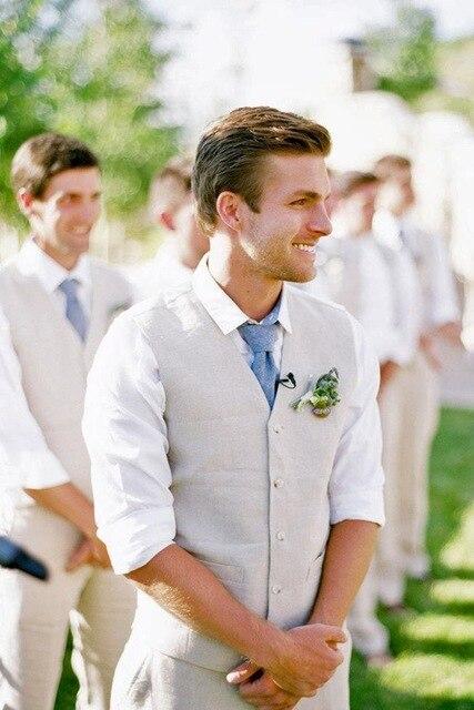 Personalizado bege marfim linho colete calças verão praia terno de casamento para homens noivo melhor homem casual terno gilet traje homme mariage