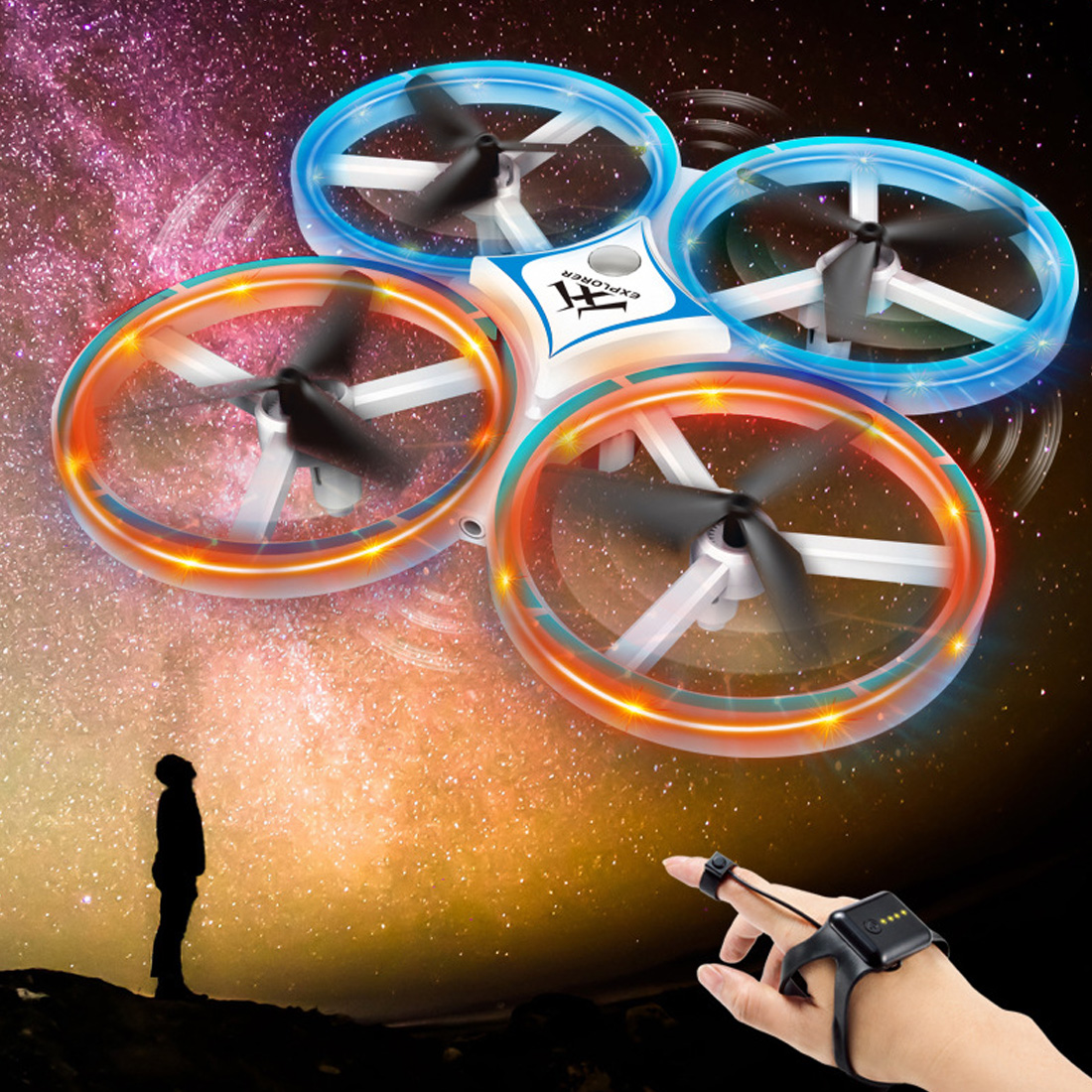 Image 5 - Mini Helicopter Induction Drone Smart Watch Hand Gesture Sensor Remote RC Aircraft UFO Flying Quadcopter Interactive Kids ToysRC Helicopters   -