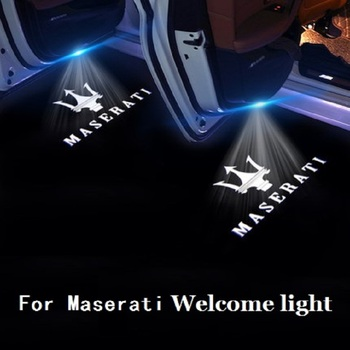 2X LED Welcome Lights For Maserati Quattroporte Levante Ghibli GranTurismo GranCabrio Door HD Logo Projectors 6000K Shadow Lamps image
