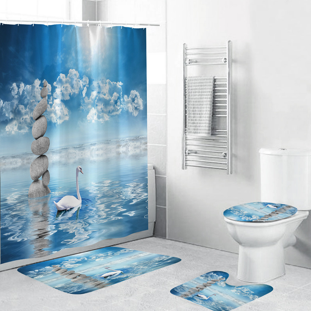 4PCS Non Slip Toilet Polyester Cover Mat Set Sea World Shower Bath Curtain Toilet WC Rugs Shower Room Accessories
