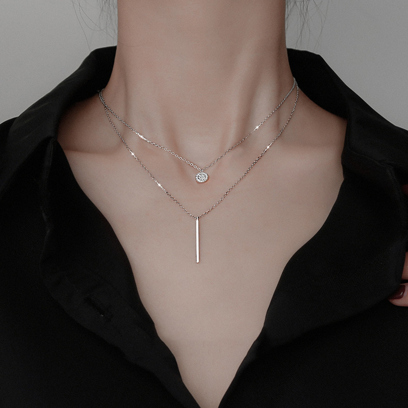 Noble 925 Sterling Silver Double Necklace Choker Shiny Zircon Geometric Long Clavicle Chain Woman Wedding Jewelry Birthday Gift