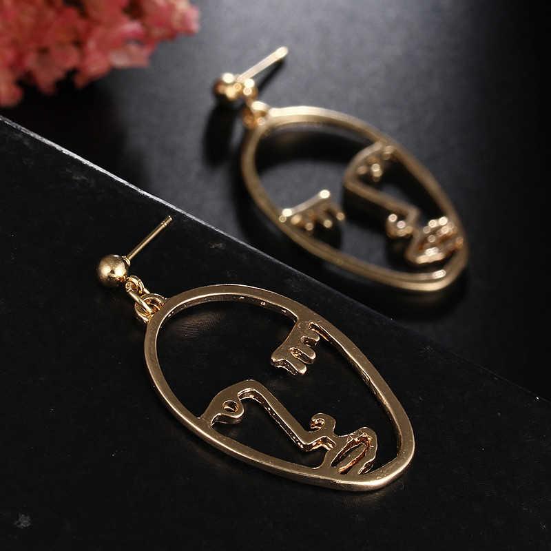 CARTER LISA Funny Personality Hollow Metal Abstract Human Face Profile Drop Earrings For Women Minimalist Jewelry Gift